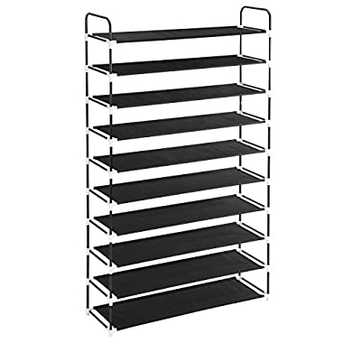 MaidMAX 10 Tiers Free Standing Shoe Rack for 50 Pairs of Shoes Organizer in Closet Entryway Hallway, 39.4 x 11.4 x 68.9'', Black