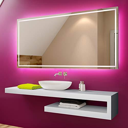 Artforma 120 x 80 cm Espejo de Baño con Iluminación LED - Luz Espejo de Pared con Accesorios - Diferentes tamaños para...