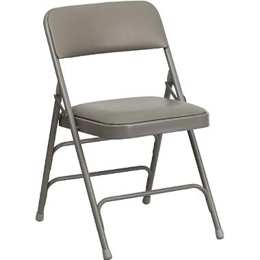 Flash Furniture HERCULES Series Curved Triple Braced & Double Hinged Gray Vinyl Fabric Metal Folding Chair