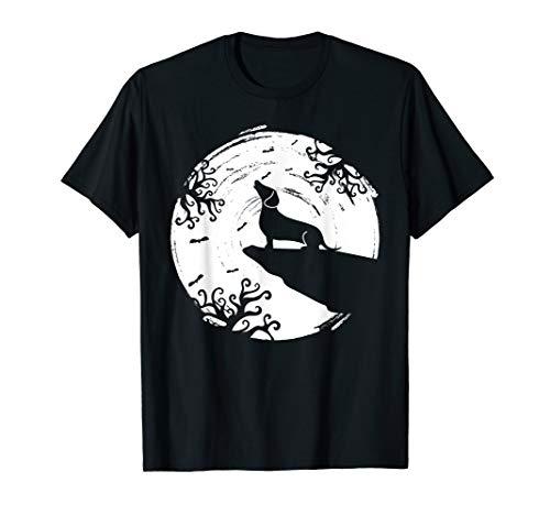 Dackel Halloween Werwolf heulen Vollmond Hunde Nacht Kostüm T-Shirt