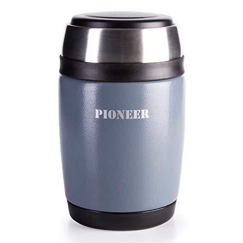 Pioneer Flasque boîte isotherme avec culière à double paroi pour Soupe et/ou Nourriture en acier inoxydable 18/10 – 0,48L, métallique gris, 8 heures chaud/ froid, antifuite