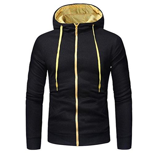 MRULIC Herren Herren Langarm Hoodie mit Kapuze Sweatshirt Tops Jacke Mantel Outwear(Schwarz,EU-44/CN-L)