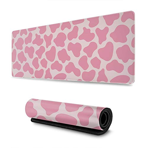 Pink Cow Print Large Gaming Mouse Pad Long Huge XL Size Mouse Mat Giant Mousepad 31.4 X 11.8Inches Full Desk Mouse Pad