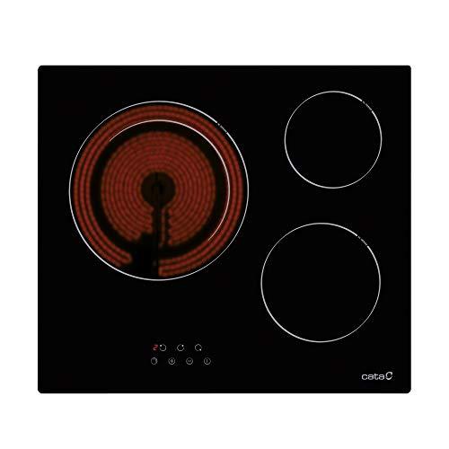 Cata BK Placas Vitrocerámica | Modelo TD 6003 | 3 Zonas de Cocción High Light | Ancho de 59 cm | 9 Niveles Regulables | Potencia Total 5,4kW | Color Negro, 1800 W, Cerámica