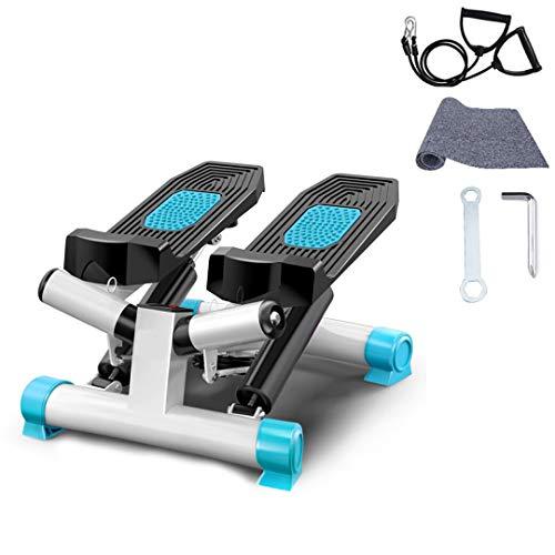 Fitness Stepper 2 en 1 avec écran Multifonctions et Bandes élastiques, Mini Stepper à Domicile, Stepper 2 marches, Twister Swing Up-Down pour débutants Professionnels, Poids Max 150kg (Blanc-Bleu)
