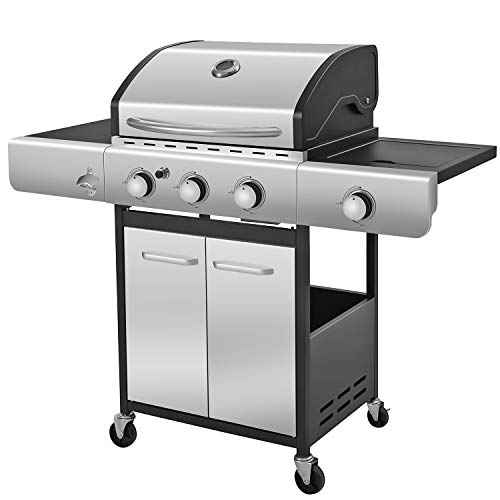 R.W.FLAME Propane Gas Grill with 3-Burner, Bottle Opener, Side Burner, Cart Grills, Stainless Steel Gas BBQ Wagon Grills Propane