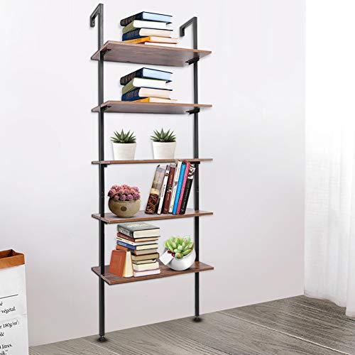 AYNEFY Estantería de estilo vintage para el suelo, estantería de estilo industrial de madera y metal con 5 estantes