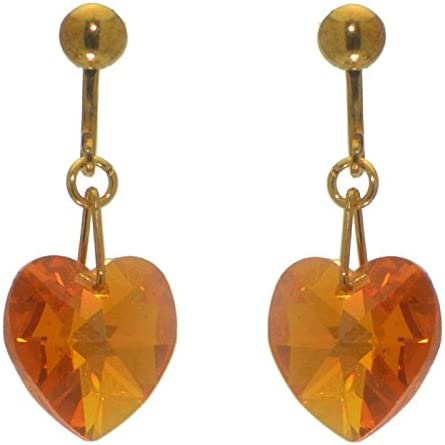 VALENTINE gold plated topaz yellow clip on earrings
