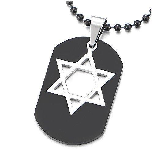 COOLSTEELANDBEYOND Negro Dog Tag Incrustaciones de Plata Estrella de David, Collar con Colgante de Hombre, Acero