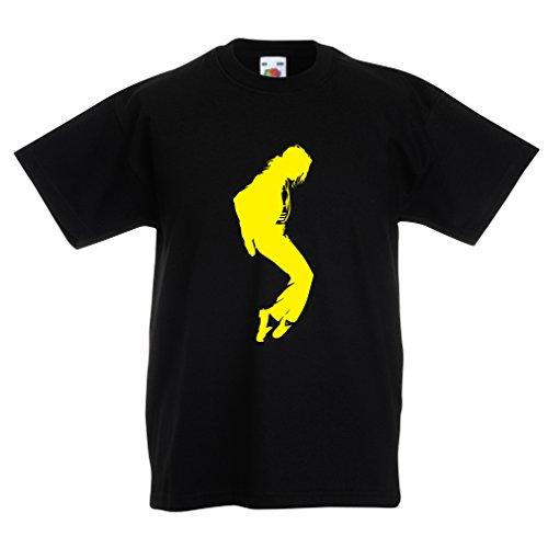 lepni.me Camiseta para Niños Me Encanta MJ El Rey del Pop Fanático De La Música y De Baile Art de Los Años 80 y 90 (3-4 Years Negro Amarillo)
