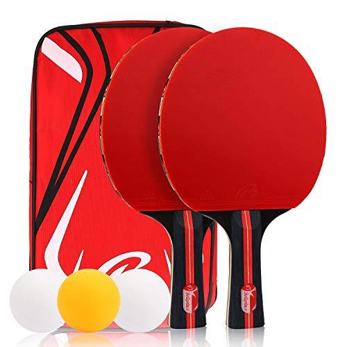Zorara Tischtennisschlaeger Set, Tischtennisschlaeger, Tischtennisschläger, Tischtennis Set, 2 Schläger 3 Tischtennis-Bälle Inkl mit Schlägerhülle, Ping Pong Set, Tischtennis Schläger (Schwarz-Rot)