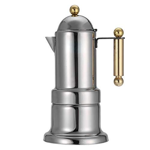 GYYlucky Cafetera, cafetera Espresso Moka de Acero Inoxidable con válvula de Seguridad y Filtro (4 Tazas Plateadas) (Color : Silver, Size : 4 Cups)