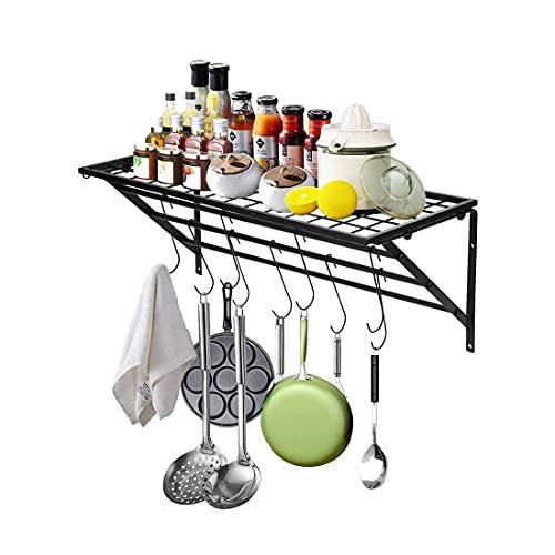 YANGMAN-F Pot Pan Racks, Saucepan Rack,3-Tier Wall Mount Kitchen Utensils Hanger Storage Organizer Cooker Hanging Rail Tableware Display Shelf with 10 Hooks
