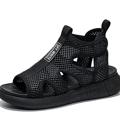 AGLOAT Sandalias de dedo del pie de fuga para hombre, de personalidad, sandalias de hombre, de suela gruesa, transpirable, agujero de playa, zapatos de hombre, zapatos de moda, de verano, negro, 40