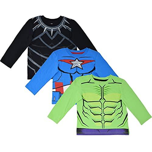 Marvel Avengers Black Panther Captain America Hulk Toddler Boys 3 Pack Long Sleeve T-Shirt 4T