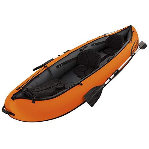 YLiansong-sports Kanu aufblasbar Sitzkajaks Driften Schlauchboot Gummi Rudern, Doppelkanu Zwei-Personen-Schiff Propeller Luftpumpe Kanu Mit Paddel Wassersport (Farbe : Orange, Größe : 330×94CM)