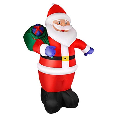 genialkiki 8 Foot Christmas Inflatable Santa Claus with Gift Bag, Christmas Inflatables Blow Up Yard Decorations Santa Claus with LED Lights Indoor Outdoor Yard Lawn Decoration
