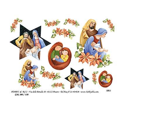 Hobby e Blu Carta Riso Collezione Natale, 3 Fogli da 43x30 cm