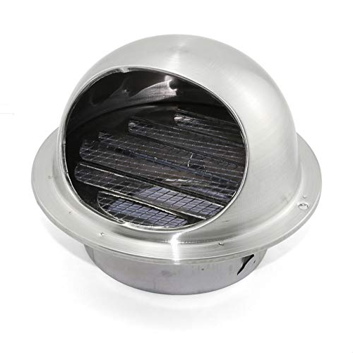 ZRM&E 1-Pack 6 Inch 304 Stainless Steel Round Wall Air Vent Thicken Ducting Ventilation Exhaust Grille Cover Wall Vent Outlet