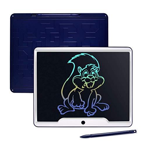 Upgrow LCD Schreibtafel 15 Zoll, Helle Schrift mit Anti-Clearance Funktion, großer Augenschutz-Bildschirm und Stift, LCD Writing Tablet Mahltafel für Schreiben Malen Notizen (Dunkelblau+Bunt)