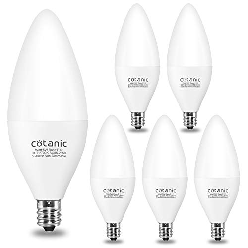 Candelabra LED Light Bulb,Cotanic 5W LED Chandelier Bulb 60Watts Equivalent,2700K Warm White Ceiling Fan Bulb,B11 Candle Shape,Type B Light Bulb,E12 Small Candelabra Base,450lm,Non-dimmable,Pack of 6