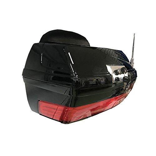 Baul rigido para Moto Custom de 38 litros de Capacidad. Color Negro Brillo. Capacidad para un Casco.
