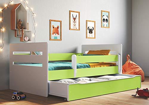 Wonderhome Kids Letto per Bambini Singolo 140x70 160x80 180x80 con sponda anticaduta con barriera cassettone Estraibile e Telaio a doghe per Bambini e Bambine - Verde - 80 x 180 cm (Senza Materasso)