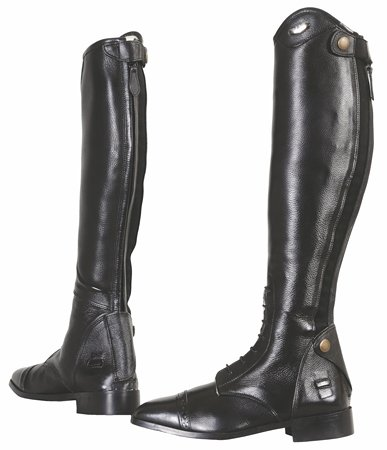 TuffRider Ladies Regal Field Leather Tall Riding Boots with Laces Black Width Wide (Horse Riding Equestrian) Black 8.5 W