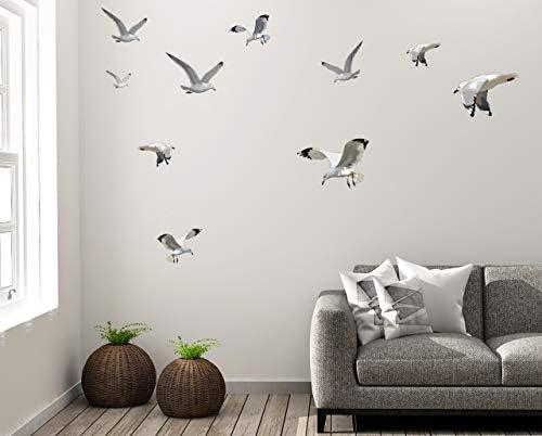 Seagull Wall Art Decor Decals Beach Scene Stickers Flock of Flying Birds Coastal Vinyl Living product image