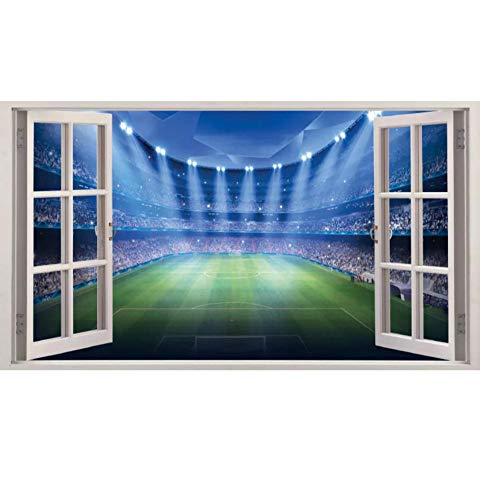 3D-Effektfenster WALL STICKERS Fantasy Football Stadium Vinyl Aufkleber Wandbild Aufkleber Geschenk 50x70cm