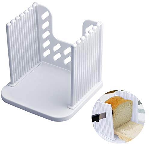 Bread Slicer, Dveda Kitchen Utensils Removable Baking Toast Bread Cutter, Sandwich Bagel Slicer with Crumb Tray for Homemade Bread