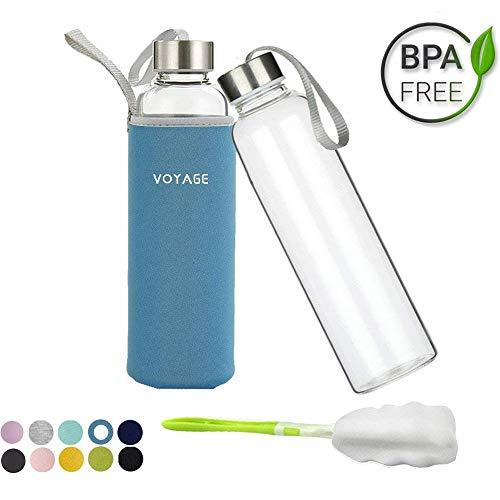 Voarge Glasflasche - BPA-frei 550ml Trinkflasche Classic mit Nylon Tasche - für Auto - für Unterwegs Sport Flasche Glas Flasche Water Bottle Wasserflasche Trinkflasche aus Glas (Blau)