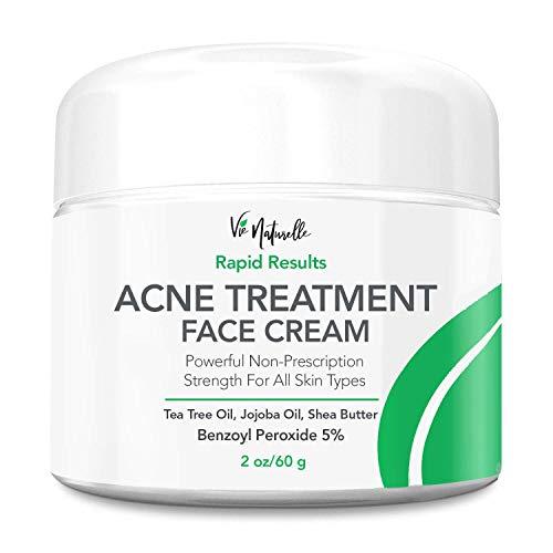 Acne Treatment Cream - 5% Benzoyl Peroxide Spot Treatment Acne Cream - Cystic Acne Spot Treatment for Face - Pimple Cream with Tea Tree Oil for Acne