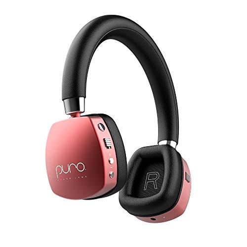 Puro Sound Labs PuroQuiet - Cuffie Over-Ear ANC per bambini/ragazzi, wireless, Bluetooth, limitazione del volume, isolamento acustico, microfono per Learning Travel (Rosso)