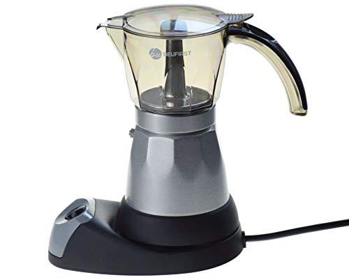 Cafetera Eléctrica Italiana, 480W, 4 Tazas. Cafetera Italiana Eléctrica con Vaso Transparente Acrílico Muy Resistente, Aleación Aluminio y Función Easy-on