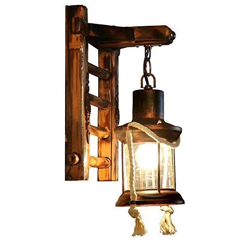 Wandverlichting creatieve bamboe ladder restaurant wandlamp Europees retro glas metaal decoratieve lantaarn kandelaar moderne woondecoratie 33 * 24 cm wandstaal