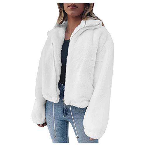 KPPONG Pullover Damen Kurzer Einfarbiger Teddy-Fleece Mantel Plüsch Pulli Schöne Jacke Sweatshirt Warm Winterpullover