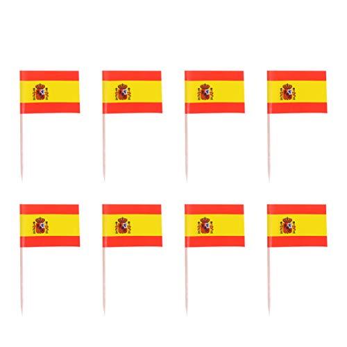 Amosfun 100 Stück Mini Spanien Flagge Zahnstocher Cupcake Topper Holz Cocktail Spieße Dessert Obst Picks für Bar Restaurant Cocktail Sport Party Dekoration Lieferungen (Spanien)