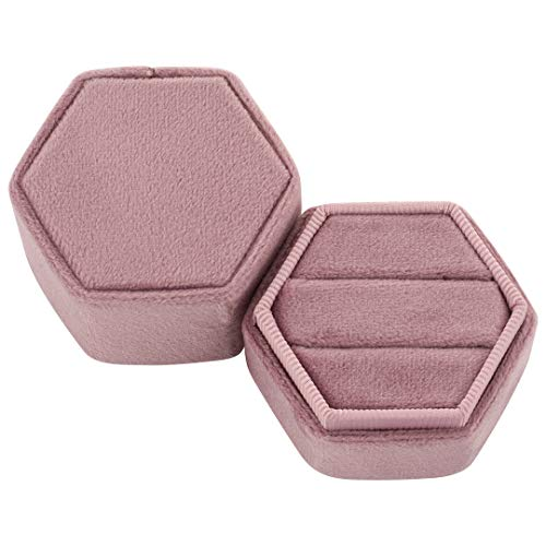Koyal Wholesale Hexagon Velvet Ring Box, Dusty Rose Holds 2 Wedding Rings with Cushion Vintage Wedding Ceremony Ring Box with Detachable Lid, 2 Piece Engagement Ring Box Holder, Proposal Idea