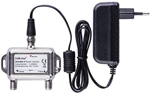 DUR-line DPI + Netzteil - Power Inserter Set – 18V Einspeise-Weiche mit F-Anschluss für SAT Unicable dCSS SCR LNBs & Schalter – [Spannungseinspeise-Adapter, Fernspeiseweiche, Stromeinspeiseweiche]