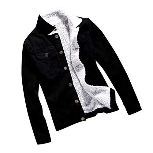 Xiangdanful Damen Sherpa Trucker Jeansjacke Übergangsjacke Kurz Denim Jacke mit Fellkragen Frauen Mädchen Vintage Coats Langarmshirt Lose Mädchen Beiläufige Outwear Gefütterte Jeans (3XL, Schwarz)