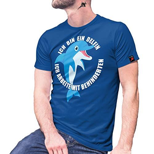 Copytec Ich Bin EIN Delfin ich arbeite mit Behinderten Humor Fun Bundeswehr Tshirt#27784, Größe:XL, Farbe:Royal