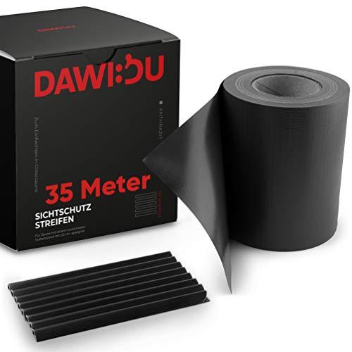 DAWIDU Zaun Sichtschutzstreifen für Doppelstabmatten - 35m x 19cm + 26 Clips - Premium Wind- & Sichtschutz Gartenzaun Anthrazit - Einfache Montage & langlebiger Schutz