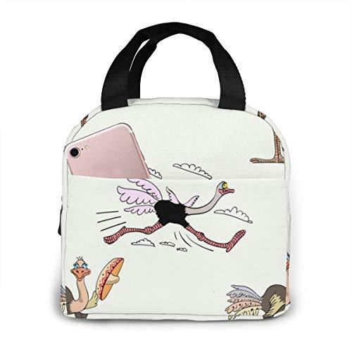 Divertidas bolsas de almuerzo ligeras de avestruz para mujeres niñas fiambrera portátil abierta para adultos niños trabajo escuela viajes al aire libre