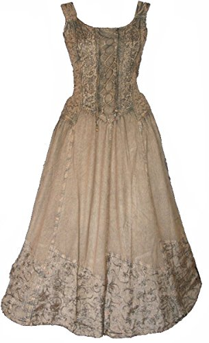 Dark Dreams Kleid Mittelalter Gothic Schnürung Audry schwarz rot grün braun weiß 36 38 40 42 44 46, Farbe:braun, Größe:S/M