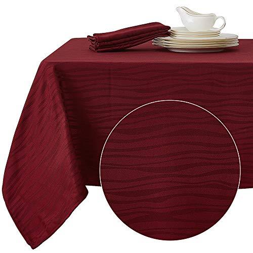 Deconovo Mantel Mesa Rectangular Jacquard Diseño Ondas para Cena Hogar Picinic Fiesta 137 x 274 cm Rojo