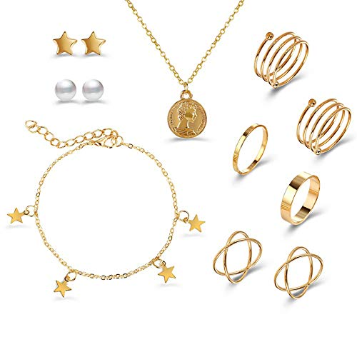 COSYOO 10PCS Alloy Metal Vintage Jewelry Set Fashion Finger Ring Necklace Bracelet Star Ear Stud Set
