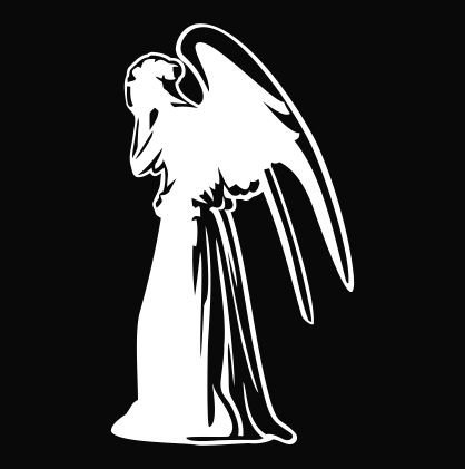 Doctor Who Weeping Angel - Vinyl 4' tall (color: WHITE) decal laptop tablet skateboard car windows stickers