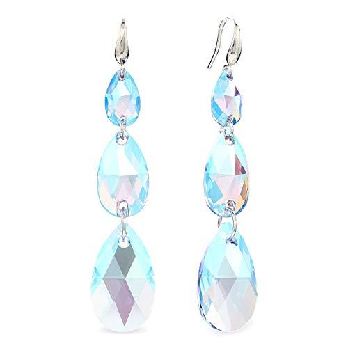LA SENJA Pendientes lágrima aguamarina, pendientes cristal azul, pendientes largos, plata de ley 925, hechos a mano