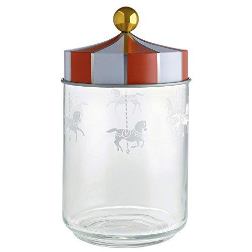 Alessi Mw30/100 Circus Pot Hermétique en Verre Sérigraphié avec Couvercle en Fer Blanc, 100 Cl